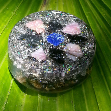 Sacred Flower of Life Orgonite with Lapis Lazuli, Obsidian and Pink Opal