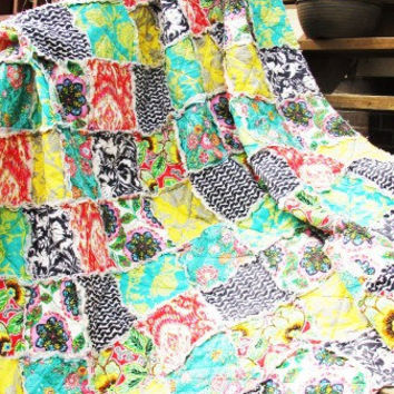 Queen Rag Quilt, Glamour, brights, charcoal, ALL NATURAL, fresh modern handmade bedding