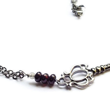 Garnet Necklace, Smoky Quartz Key Necklace, Skeleton Key Gunmetal Chain Necklace, Boho Necklace, January Birthstone Jewelry