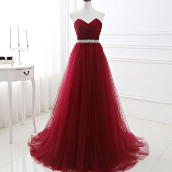 Fashion new wine red annual business meeting evening dress dress bridesmaid dress