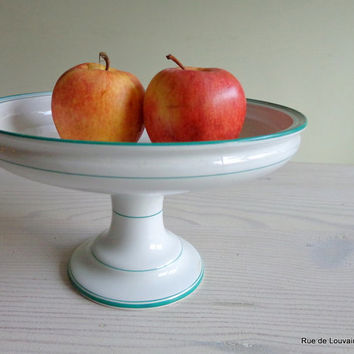 Antique white ironstone pedestal dish, white and green faience pottery fruitbowl, 19th century cake stand