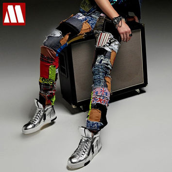New fashion casual Hole patch jeans male beggar pants men singer stage trousers costume Nightclubs costumes pants tide