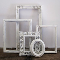 Open Picture Frame Set Of 5 Shabby Chic White Wall Decor