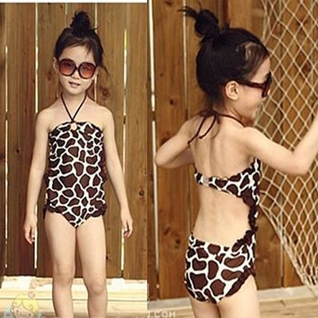 2017 Retailed New Arrival Kids Swimsuit Biquini Girls Princess Sling Bathing Suits Baby Bikini Swimwear Swimming Costume 2-7Y