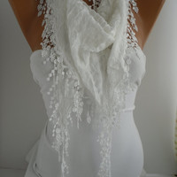 White Shawl and Scarf  Headband -Cowl with Lace Edge Summer Trends