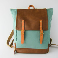 Backpack No.5 Dual Look -- Seafoam Green canvas with Leather