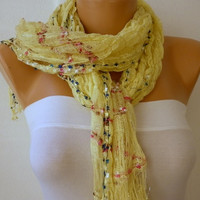 ON SALE - Yellow Scarf - Spring Scarf -  Knitted Scarf - Women  Scarf  - Shawl  - Cowl - Neckwarmer - Silvery - Yellow