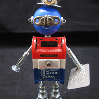 Mr. Mailbot IIII - found object robot sculpture assemblage