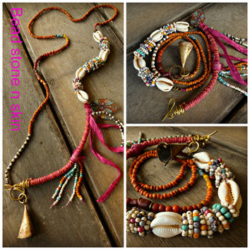 Boho, Ethnic, Hippie necklace, Trade Beads, Sari Silk Fringe necklace, Long necklace,Bell, Gypsy necklace, Cowrie shell, Beach Jewelry.