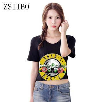 ZSIIBO NVTX47 Sexy Hole Women T-Shirt GUNS N ROSES Print Crop Top T Shirt Cropped Tops Hollow Out Short Sleeve Tee Shirt Femme