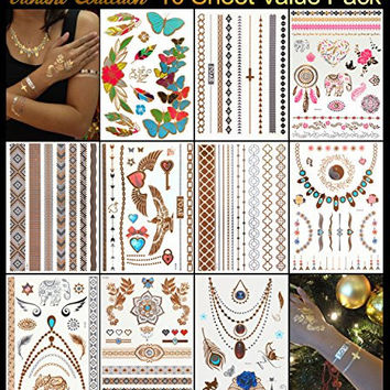 Metallic Tattoos - Pack of 10 Sheets with 129+ Temporary Flash Tattoos for Woman & Girls in Gold, Silver & Turquoise With Tribal, Flower & Butterfly Jewellery Designs Plus Many Other Styles