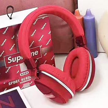 Supreme New fashion letter print couple wireless bluetooth noise cancelling headphones headset Red