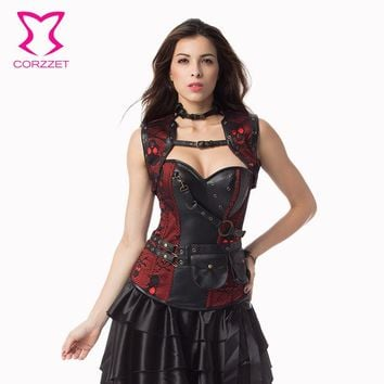 Corzzet Red/Black Skull Pattern Leather Armor Corset And Jacket Waist Trainer Steel Boned Plus Size Gothic Steampunk Clothing