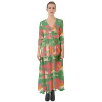 Pink Scratches On A Green Background Button Up Boho Maxi Dress