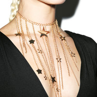 Fad Treasures Falling Stars Necklace Gold One