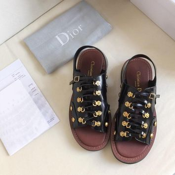 HCXX 2346 19May Christian Dior Gold buttons smooth-box Rubber Outsole Sandals Black