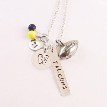 Football School Color Necklace, Football Mom Necklace, Football Jersey Number Necklace, Football Team Necklace with Sterling Silver Football