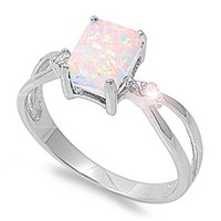 8MM Sterling Silver RAINBOW WHITE LAB OPAL SPARKLE Ring