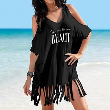 Pareo Beach Cover Up Women's Letters Print Cold Shoulder Tassels Batwing Baggy Swimwear Bikini Cover-ups Beach Tunics Blouse Top