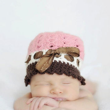 Crochet Ribbon Katrina Cloche Vintage Style Hat, Elegant Shell Hat, Photo Prop, Newborn, Baby, Toddler, Child, picture
