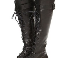 Julie Lace Tall Combat Boots
