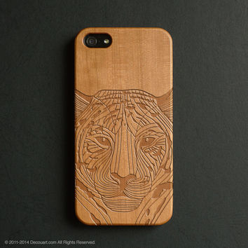 Real wood engraved tiger pattern iPhone case S024