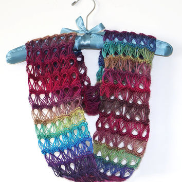 Rainbow Infinity Scarf - Crocheted Broomstick Lace Scarf