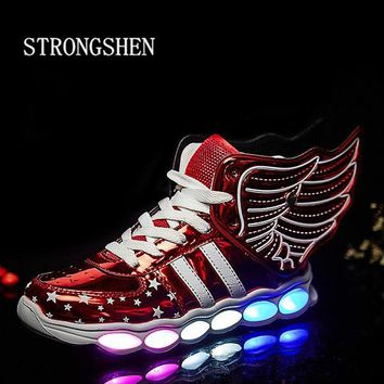 USB Charging Wing Led Children Shoe Light UP Kids Casual Boys&Girls Sneakers Glowing Shoe