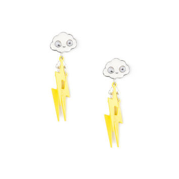 Cloud and Lightning Bolt Front and Back Drop Earrings