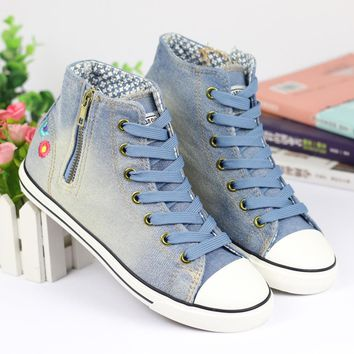2016 spring flat-bottomed women denim high canvas shoes women shoes casual floral fashion jean shoes size 36-40