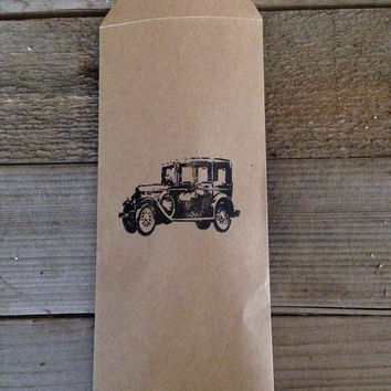 Antique car hand stamped favor bags