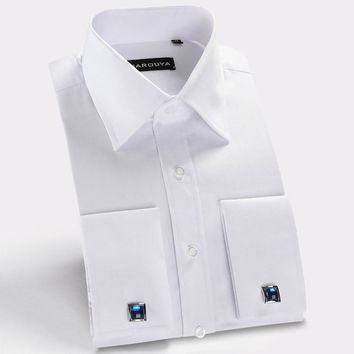 Excellent quality Gentle twill no chest pocket regular fit ez care men French dress shirts