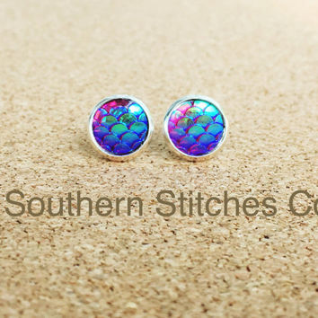 SALE Earrings Purple Mermaid Dragon Fish Scales Stud Earrings Boho Jewelry 10MM