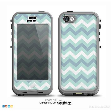The LightTeal-Colored Chevron Pattern Skin for the iPhone 5c nüüd LifeProof Case