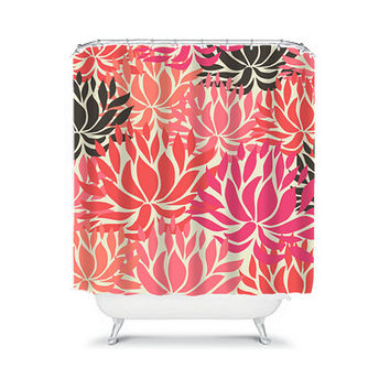 Shower Curtain Brown Coral Hot Pink Peach Dahlia Flower Floral Bathroom Bath Polyester Made in the USA