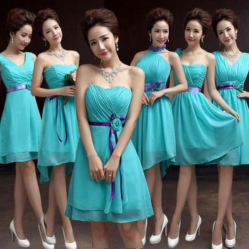 short Bridesmaid Dresses Chiffon Turquoise Blue Dress For Weddings Sweetheart Bridesmaid Dress Cheap 2016 hot Bridesmaid Dresses