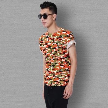 Summer Camouflage Leopard Cotton Stretch Round-neck Men Short Sleeve T-shirts [6544490691]