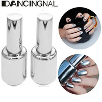 2Pcs 15ML Metallic Mirror Effect Metal Silver Nail Polish Varnish &15ML Top Coat [8096932615]