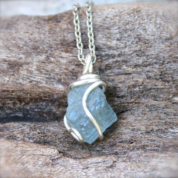 Natural Aquamarine Necklace - Wire Wrapped Stone Jewelry - Rough Aquamarine Jewelry - Boho Gypsy Necklace - Gemstone Jewelry Stone Necklace