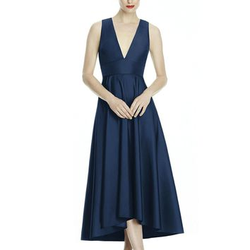 Lela Rose - LR242 Tea-Length Plunging V-Neck High Low Dress