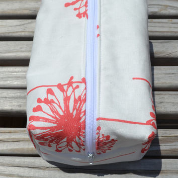 Coral Dandelion Makeup Bag- Monogram Available