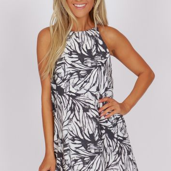 High Neck Print Dress Grey