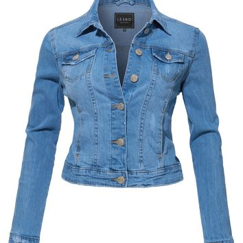 LE3NO Womens Vintage Fitted Long Sleeve Distressed Denim Jacket