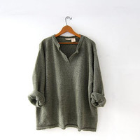 Vintage Oversized Sweater. Sage Green Sweater. Vneck Pullover.