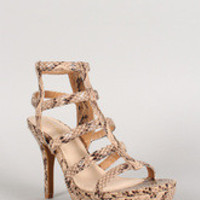 Bamboo Snake Strappy Caged Open Toe Platform Heel