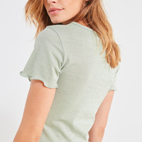 UO Emma Shimmer Lettuce Edge Tee | Urban Outfitters