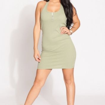 Olive Ribbed Halter Body Con Dress @ Cicihot sexy dresses,sexy dress,prom dress,summer dress,spring dress,prom gowns,teens dresses,sexy party wear,ball dresses