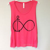 And Beyond Infinity Anchor Never Sink Top Neon Coral
