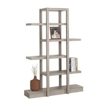 """Bookcase - 71""""H / Dark Taupe Open Concept Display Etagere"""