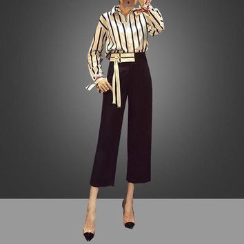 VLXZGW7 Dior' Women Temperament Fashion Long Sleeve Stripe Lapel Shirt High Waist Wide Leg Pants Trousers Set Two-Piece